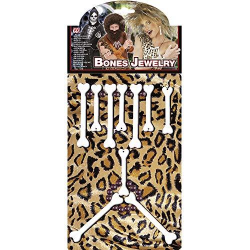 Widmann 2310P - Knochen Schmuckset, Halskette, Armband, Ohrringe, Steinzeitmensch, Höhlenmensch, Accessoire, Kostümset, Mottoparty, Karneval