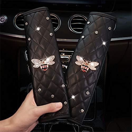 Toltec Lighting Bling Diamond Car Seat Belt Cover Pad,Soft Car Safety Seat Belt Strap Shoulder Pad for Adults/Children,Suitable for Backpack,Shoulder Bag,Camera Bag,bee