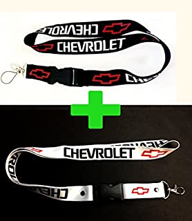 2x Chevrolet Chevy Lanyards White & Black with Red Logo 1 inch x 22 inch Key Chain ID Badge Card Holder Hanger