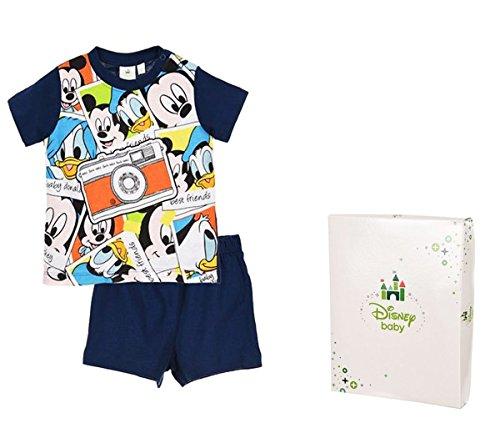 Conjunto de pijama corto con caja de regalo para bebé, diseño de Mickey Mouse, de 12 a 30 meses azul azul marino Talla:30 mois