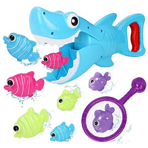 Bammax Giochi per Il Bagnetto, 8pcs Giochi Bagnetto con Animale da Oceano, 100% Senza BPA, Squalo Balena Gioco di Bagno Giocattolo per Bambini con Rete di Stoccaggio, Grande Regalo per i Bambini