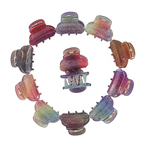 Carede Small 1.2 inch Plastic No-Slip Grip Jaw Hair Clip,Small Acrylic Hair Claw Clips for Girls and Women,Pack of 12