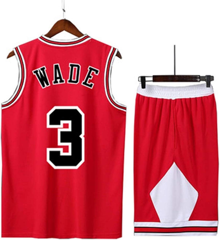 WEIHUA Bulls Basketball Uniform Suit Men's Jersey Black red White Yellow Sleeveless T-Shirt Wade