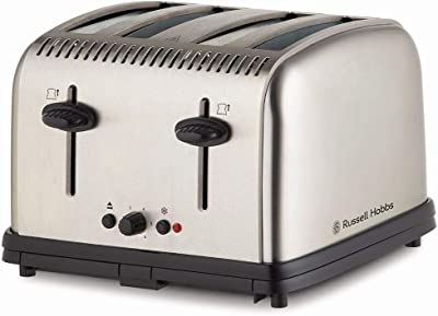 Russell Hobbs RHT14BRU Classic Toaster 4 Slice, Brushed Stainless Steel, Silver