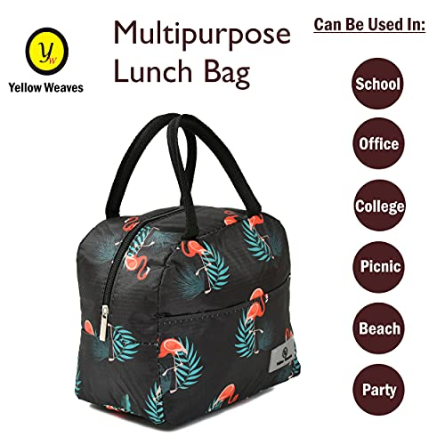 Yellow Weaves Insulated Polyester Travel Lunch / Tiffin / Storage Bag for Office, College & School (Black)