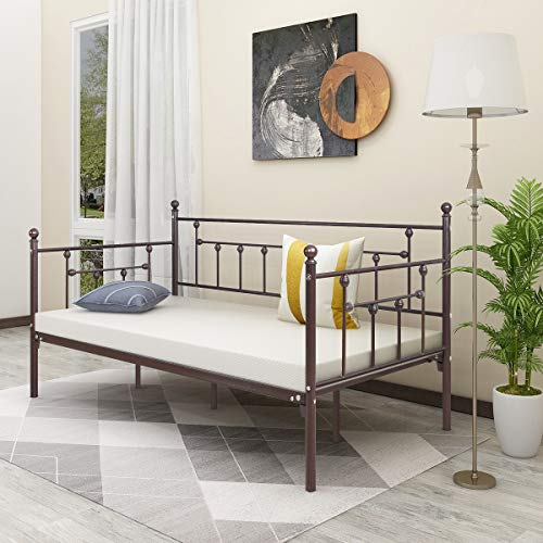 Alazyhome Metal Daybed Frame Twin Size Platform No Box Spring Needed with Vintage Headboard and Footboard Premium Steel Slat Support Mattress Foundation Bronze