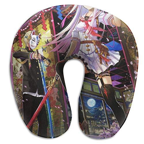Hdadwy Diseño ergonómico Memory Foam Anime Original Almohada en Forma de U Soporte portátil para la Cabeza y el Cuello Avión para Dormir Cómoda Almohada de Viaje Almohada para automóvil Oficina Hogar
