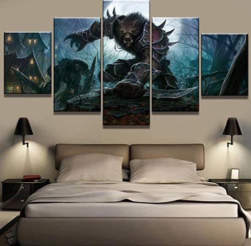 5 stuk canvas schilderij warcraft weerwolf spel cuadros decoracion schilderijen op canvas kunst aan de muur voor home decoraties muur decor-maat-D