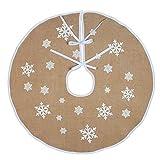 Yumira Jupe de sapin de Noël - Imprimé flocon de neige - Tapis de décoration de Noël