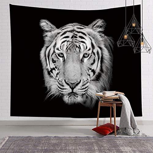 GGSDDU Tapiz De Pared Hippie Animal Tigre Tapiz Suave Y Duradero Estampado De Tela Tapiz Colgante De Pared Para Dormitorio Tapices De Decoración Estética,Negro,60' x 52' (150×130 cm)