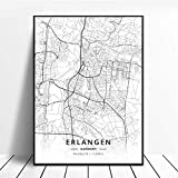 NOVELOVE Erlangen Stadt Deutschland Karte Poster HD Drucke