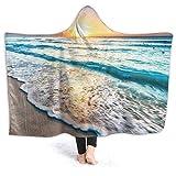 YOLIKA Usable Manta con Capucha Felpa Envolver,Amanecer sobre la Playa en Cancún,Suave Calentar Lana Manta de Tiro Capa Acogedor para Viajes en Casa con Sofá Cama, 80' x 60'