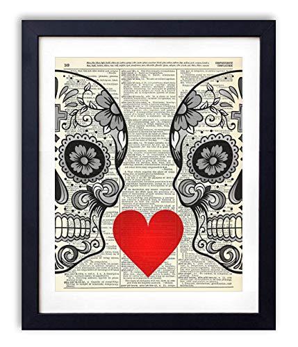 Skull Love, Vintage Dictionary Art Print, Modern Contemporary Wall Art for Home Decor, Boho 8x10...