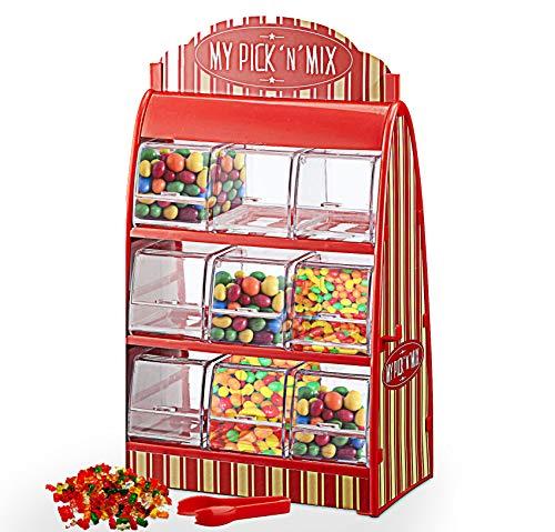 Cepewa Süssigkeitenspender Retro Süßigkeitenautomat mit Zange Weingummi Spender 50er Jahre Fruchtgummi Jellybeans Theke