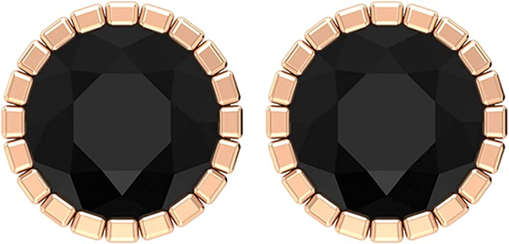 2.50 CT Bezel Set Black Onyx and Gold Cocktail Solitaire Stud Earrings (AAA Quality),14K White Gold,Black Onyx