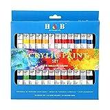 Kit de Pintura Acrílica de 24 Colores, Pintura de DIY de 12ml, Dibujo de Pigmento de Propileno, Kit de Pintura Profesional para Lienzo, Arcilla, Tela, Uñas, Cerámica, Colores no Tóxicos y Vibrantes