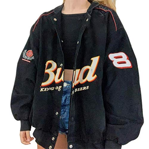 Onsoyours Bomberjacke Damen Sweatjacke Ladies College Sweat Jacket Reißverschluss Für Frauen Oversized Patchwork Jacke Vintage Druck Jacken Baseball Mantel G Schwarz S