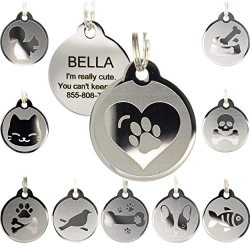 Custom Engraved Stainless Steel Pet ID Tags - Engraved Personalized Identification Durable & Long Lasting Dog Tags , Cat Tags