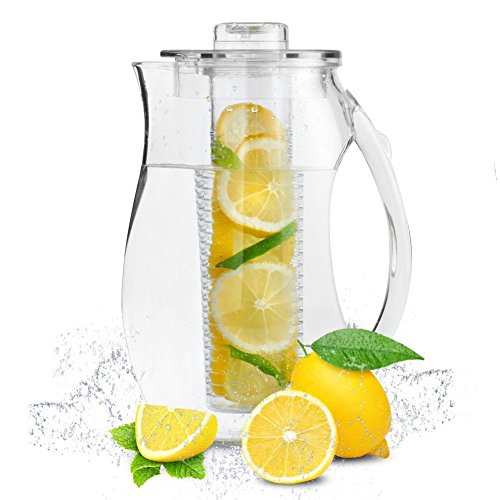 Infuser Pitcher | 2 Pcs of 2.9 Quartz / 2.75 L Lemon Tea Flavored Infusion Water Pitcher | Shatter Proof Acrylic Material with Removable Core | Excellent for Fruit Herb Tea Beverage | 1382.02