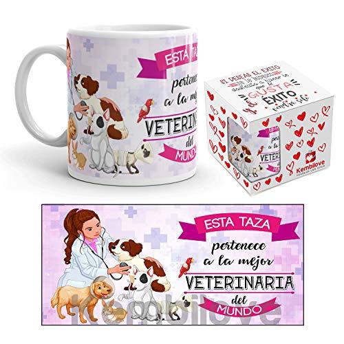 Kembilove Taza de Café de la Mejor Veterinaria del Mundo – Taza de Desayuno para la Oficina – Taza de Café y Té para Profesionales – Taza de Cerámica Impresa – Tazas Jefe de Veterinarias