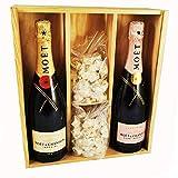 Champagne Moet & Chandon - Imperial Brut/Rosé & 2 * 150 gramos Nougadets de avellana - Jonquier Deux Frères - En caja de madera