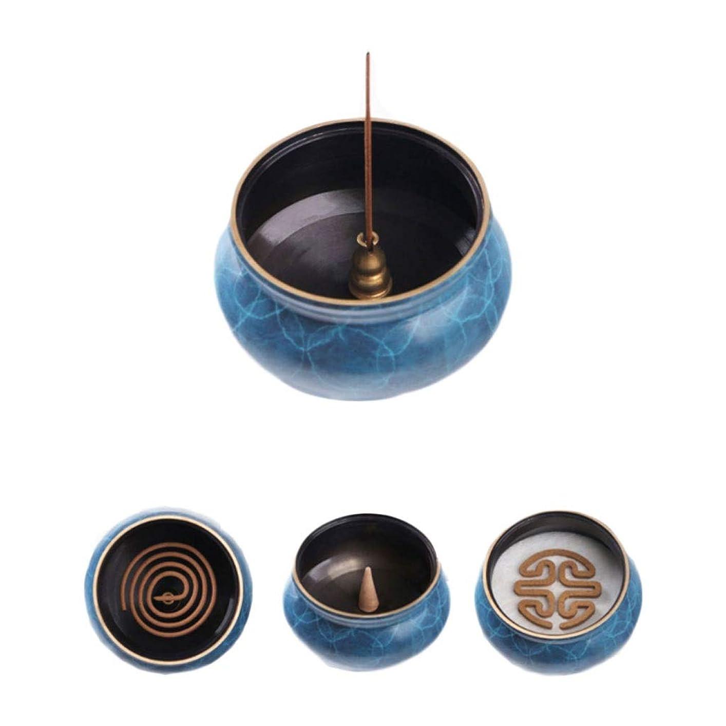 コートレジ優雅ホームアロマバーナー 純粋な銅香炉ホームアンティーク白檀用仏寒天香炉香り装飾アロマセラピー炉 アロマバーナー (Color : Blue copper)