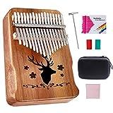 Kalimba Thumb Piano 17 Keys, Topnaca Finger Piano Mbira with Study Instruction, Tune Hammer and EVA Piano bag, Acacia wood, Portable Kalimba Christmas Gift for Kids Adult Beginners(Brown)
