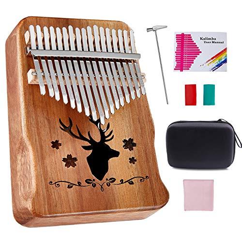 Topnaca Kalimba Thumb Piano 17 Keys Acacia Wood Marimbaphone Instrument with Tuning Hammer Piano Bag Study Manual Christmas Gift for Children Beginner(Braun)