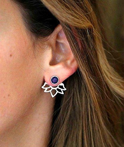 Handmade Designer Amethyst Ear Jackets, Made from 925 sterling silver