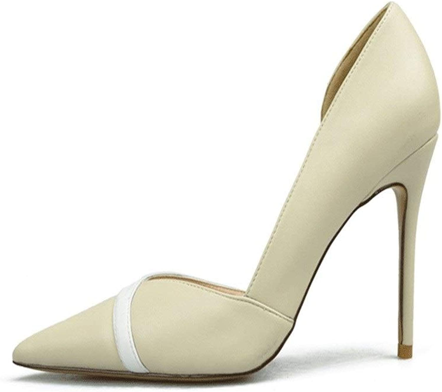 ZerenQ D'Orsay Pumps for Women High Stiletto Heels Two Tones Side Cut Sexy Dress shoes for Ladies Durable (color   Nude 8 cm Heel, Size   6.5 M US)