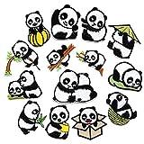 suoryisrty 14Piezas / Set Lindo Parche Bordado de Panda Coser Hierro en Parches para decoración de Ropa