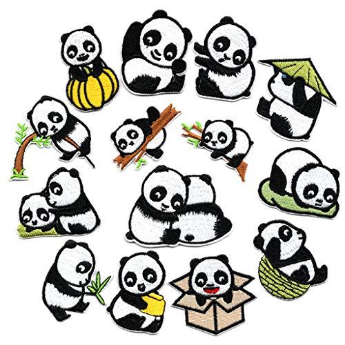 N/A. Juego de 14 parches de bordado con diseño de panda, chinos tradicionales, para coser o planchar, ropa de camiseta, vaqueros, decoración
