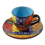 Kaffeetasse und Untertasse Multicoloured Ethnic, blau
