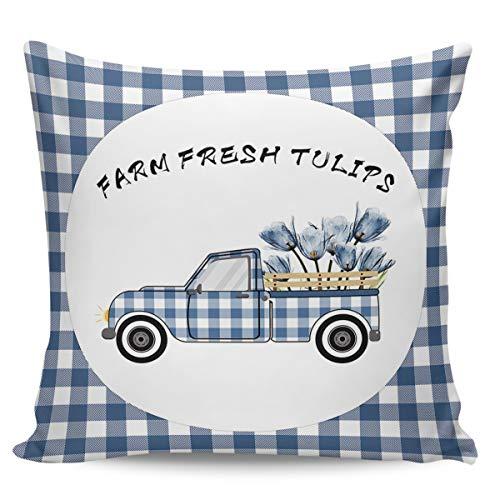 Scrummy Fundas de almohada de 45,72 x 45,72 cm, diseño de tulipanes frescos de granja azul búfalo a cuadros camión fundas de almohada decorativas para decoración del hogar