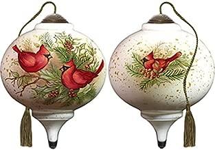 Ne'Qwa Art Hand Painted Blown Glass Woodland Cardinals Ornament,