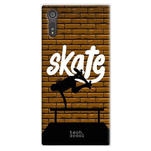 Funnytech® beschermhoes van siliconen voor Sony Xperia XZ [flexibele siliconengel, exclusief design] Skate Vers. 3 wandplanken