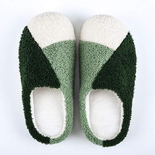 Zapatillas ligeras y cálidas de suela suave, para hombre y mujer, antideslizantes para el hogar, para interiores y cálidas, suelas antideslizantes, color verde, 39-40
