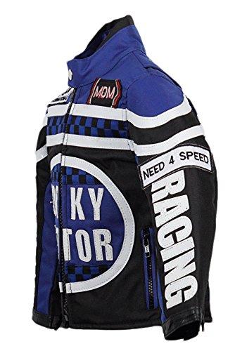 MDM Biker Jacke für Kinder, Motorradjacke in blau, Racing Jacke (3XL)