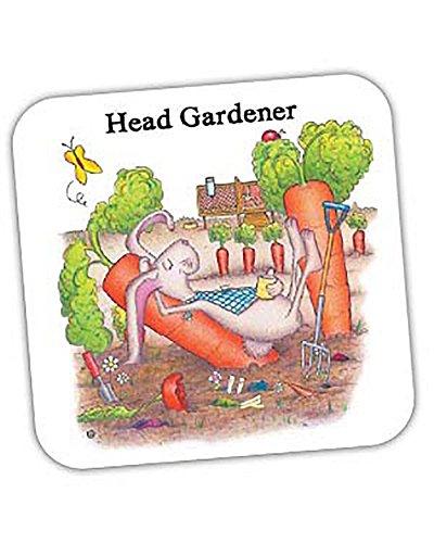 """Compost Heap The Handgezeichneter Untersetzer """"Head Gardener"""", weiß"""