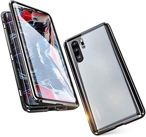 Cover per Huawei P30 Pro Custodia Magnetic Flip Case,360 ° Metallo Bumper Trasparente Vetro Temperato Anteriore e Posteriore Protezione Full Body...