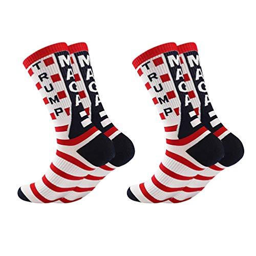 Amosfun 2 Paare Trumpf 2020 Socken Uns Wahl Socken Amerikanische Flagge Socken Neuheit Baumwolle Crew Socken Machen Amerika Wieder Großartig (Schwarz)