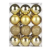 KOLACEN - Juego de bolas de adorno para árbol de Navidad, adornos de bolas colgantes de Navidad, decoración decorativa para el hogar, vacaciones, decoración de bodas, 30 mm, 24 piezas / caja (oro)