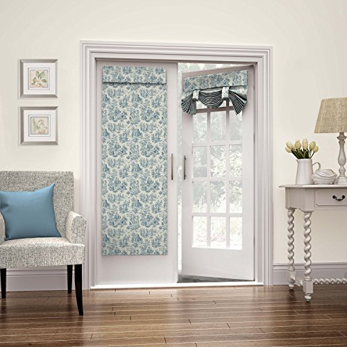 "WAVERLY Room Darkening Curtains for French Door - Charmed Life 26"" x 68"" Thermal Insulated Single Panel Glass Door/Patio Door Window Curtain for Privacy, Cornflower"