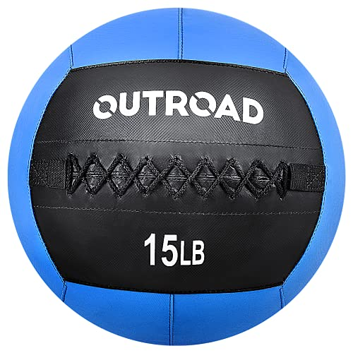 Outroad Wall Ball Medicine Ball Fitness Gym Equipmentfor Strength and Conditioning Exercises, Cross Training, Cardio and Core Workouts (15lbs, Blue)