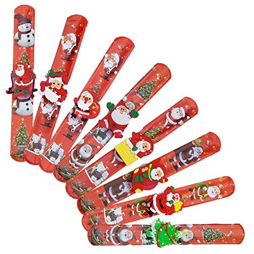 SANTOO 8 STK Snap Armbänder LED Schnapparmband Weihnachten Schnapparmbänder Armband Flash Weihnachtsmann Schneemann Mitbringsel für Kinder Party Geschenk Geburtstag