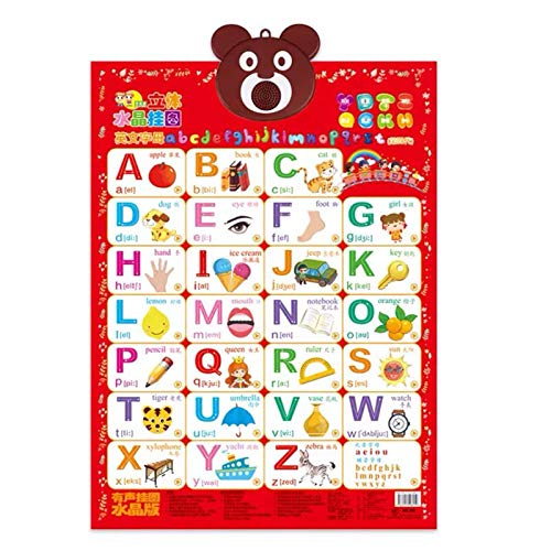 lamta1k Elektronisches interaktives Alphabet-Wand-Diagramm Musik-Poster – ein lustiges Spiel, entwickelt von Pädagogen und Lernspielzeug für Kinder ab 3 Jahren B