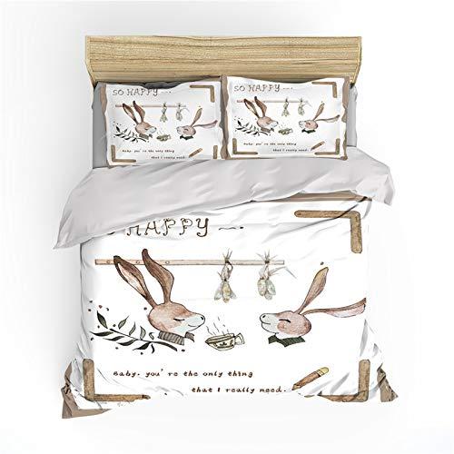 XUNGENG - Funda de edredón, ilustración vectorial de pequeño conejo, diseño de anime, impresión 3D, juego de ropa de cama suave 100% microfibra para animales (A,140 x 200 cm)