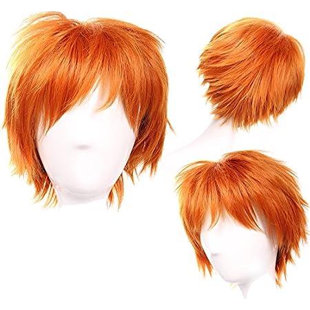 S-noilite Anime court complet Cheveux Perruques Cosplay Costume de f/ête D/éguisement Unisexe Syntheic Orange fonc/é