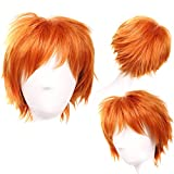 S-noilite Unisex Women Short Curly Straight Cosplay Wig Men Male Anime Costume Hair Tail Full Wigs Dark Orange