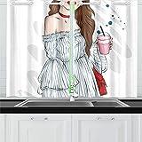 N\A Sol Linda Chica con Gafas Cortinas de Cocina Cortinas de Ventana Niveles para café baño lavandería Sala de Estar Dormitorio 26x39 Pulgadas 2 Piezas